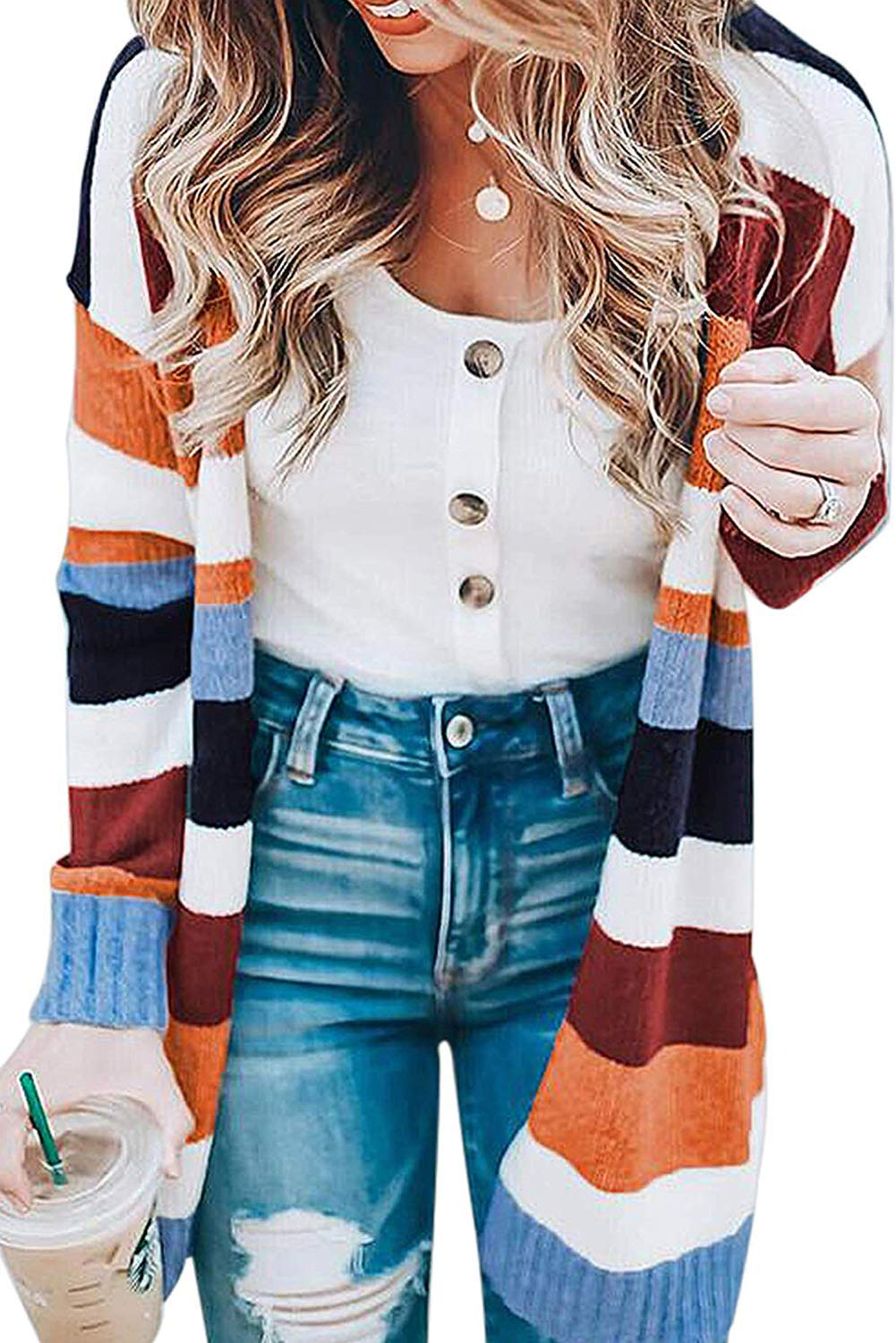 ANFTFH Womens Open Front Cardigan Long Sleeve Colorblock Knit Lightweight Sweaters