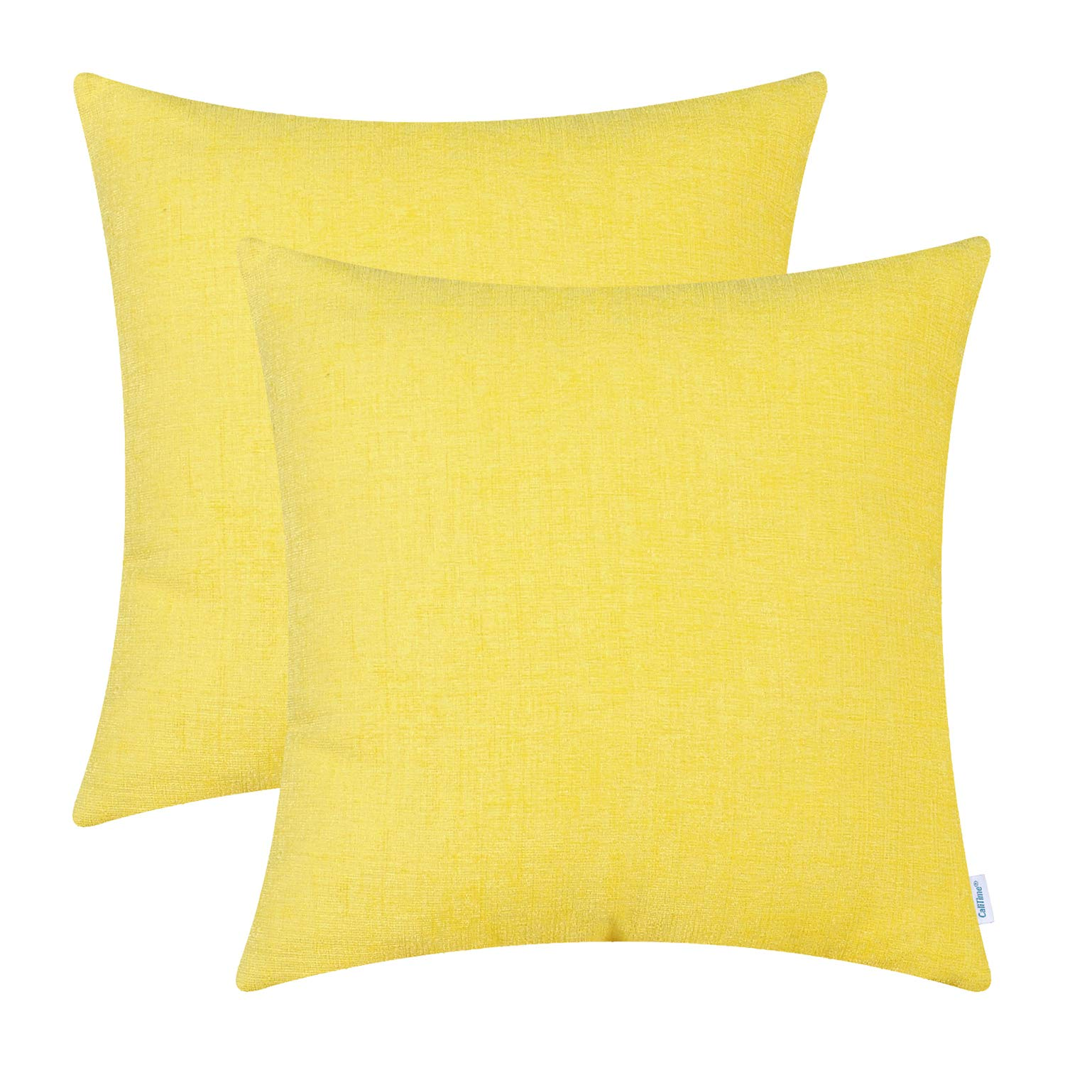 CaliTime Pack of 2 Cozy Throw Pillow Covers Cases for Couch Sofa Home Decoration Solid Dyed Soft Chenille 18 X 18 Inches Bright Yellow