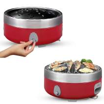 Freshore Portable Smokeless Charcoal BBQ Grill - Outdoor Camping Small Tabletop Cooking Mini Barbecue - Built in Fan Power by 4A Battery Or Phone Charge