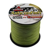 Ashconfish Braided Fishing Line-4 Strands Super Strong PE Fishing Wire Multifilament Fishing String Ultra Power 6LB-100LB Heavy Tensile for Saltwater & Freshwater Fishing