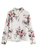 Milumia Women's Casual Long Sleeve Asymmetrical Collar Floral Print Blouse Top