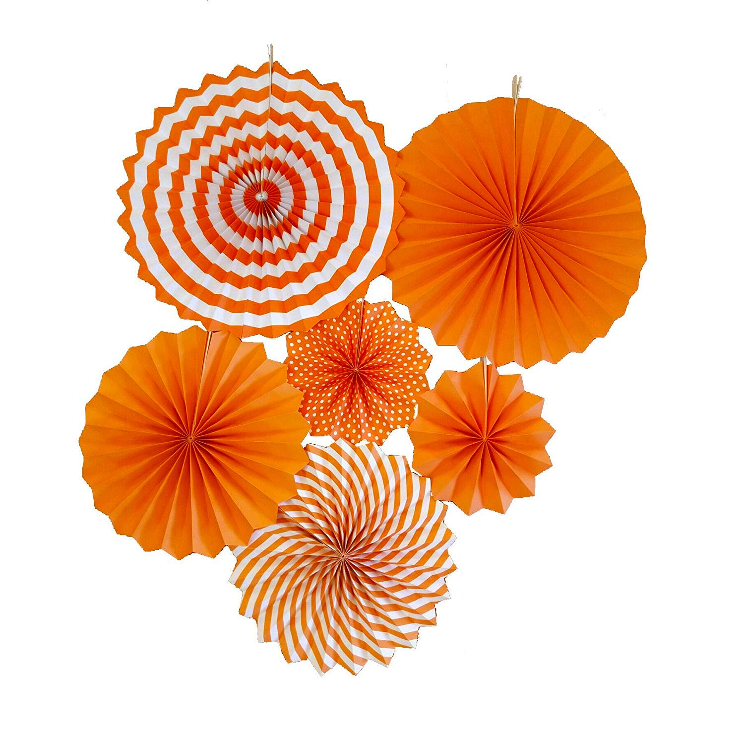 LayYun Colorful Hanging Paper Fans -Fiesta Round Party Paper Garland Decorations, Party Supplies for Bridal Wedding, Birthday Party, Baby Shower, Graduation Event Accessories, Set of 6 (Orange)