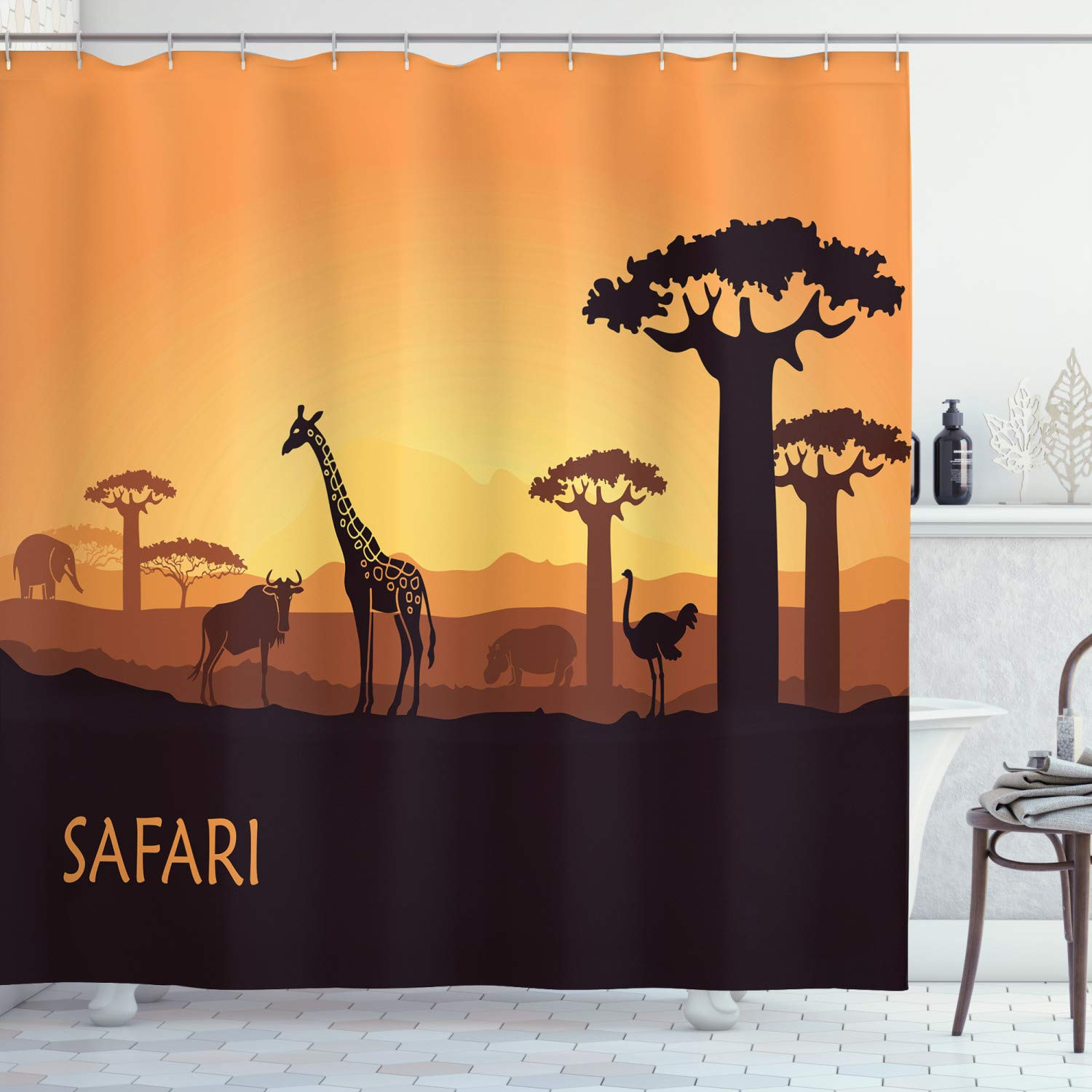 """Ambesonne Safari Shower Curtain, Sunset a Giraffe Ostrich Hippo Adventure Exotic Pastoral Wilderness, Cloth Fabric Bathroom Decor Set with Hooks, 84"""" Long Extra, Brown Apricot"""