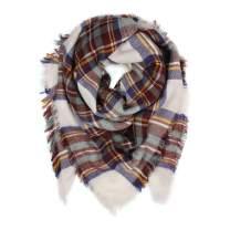 Women's Shawl Wrap Warm Scarf - Cozy Oblong/Plaid Blanket/Stripe Light Circle Infinity (Blanket - Ivory/Mustard)