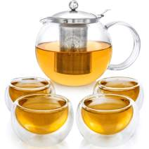 NEW DESIGN – Stovetop Safe + Lead-Free Glass Teapot Set (40 OZ / 1200 ML) with Removable Stainless Steel Infuser for Loose Tea – Includes 4 Insulated Double Wall Glass Cups (5 OZ / 150 ML)