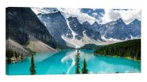 LightFairy Glow in The Dark Canvas Painting - Stretched and Framed Giclee Wall Art Print - Mountains Nature Glacial Lake - Master Bedroom Living Room Decor - 6 Hours Glow - 32 x 16 inch