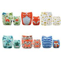 ALVABABY Baby Cloth Diapers One Size Adjustable Washable Reusable for Baby Girls and Boys 6 Pack + 12 Inserts 6DM48
