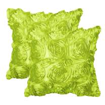 """PiccoCasa Pack of 2,3D Satin Rose Flower Throw Pillow Cover Shells,Arts Decorative Pure Color Roses Floral Cushion Covers for Couch,16"""" x 16"""", Green"""