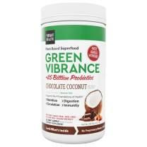 Vibrant Health, Green Vibrance Chocolate Coconut, Plant-Based Superfood Powder, 25 Billion Probiotics Per Scoop, Vegan Friendly, 25 Servings