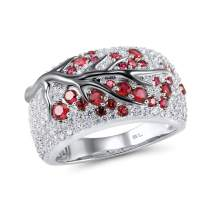 Santuzza 925 Sterling Silver Ring Delicate Pink Cherry Tree Created Ruby Shiny White Cubic Zirconia