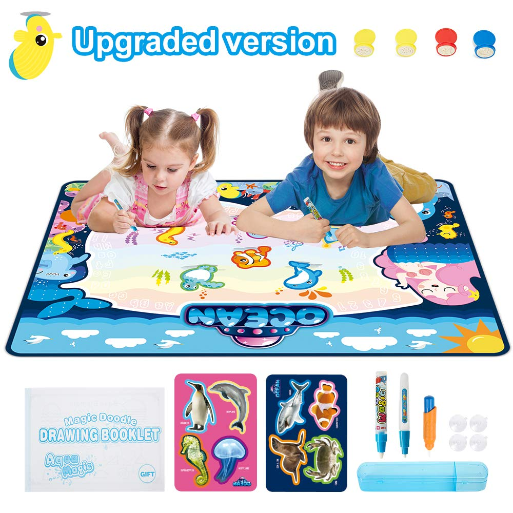 """FONLLAM 42"""" X 28"""" Aqua Magic Mat - Kids Water Drawing Mat - Educational Toys for 2 3 4 5+ Girls Boys Toddlers with 3 Water Pens and Drawing Booklet"""