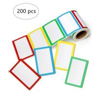 """Hybsk Plain Name Tag Labels Colorful Border Name Tag Stickers, 3.5"""" x 2.25"""", 4 Colors"""