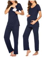 MAXMODA Cotton Nursing/Labor/Delivery Maternity Pajamas Set for Hospital Home, Basic Nursing Shirts, Pregnancy Pants