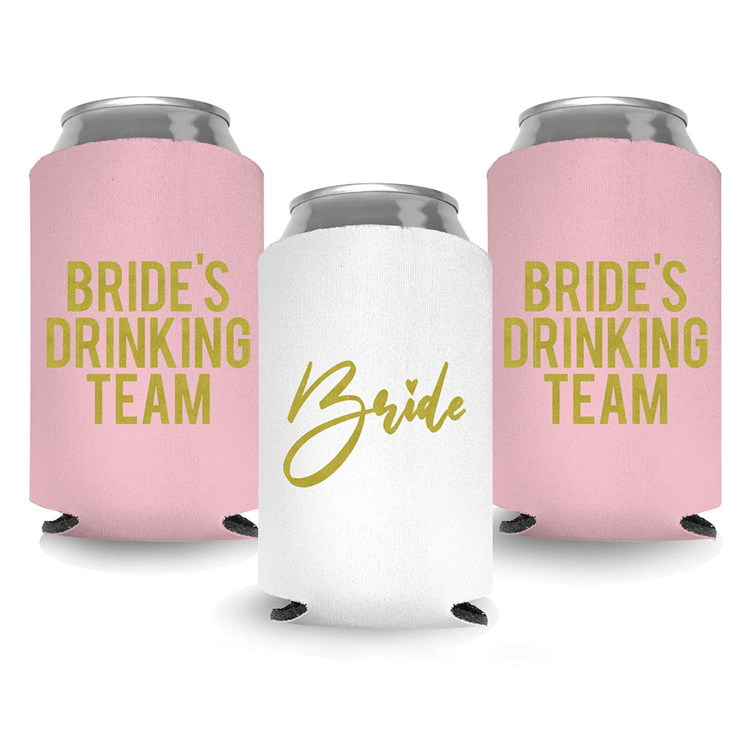 Coolies Can Coolers Insulated Collapsible Beer Soft Drinks Bottle Soda Can Sleeves (Bride & Bride Drinking Team) Durable Insulators Premium Quality for Bachelorette Party (Set of 12) White and Blush