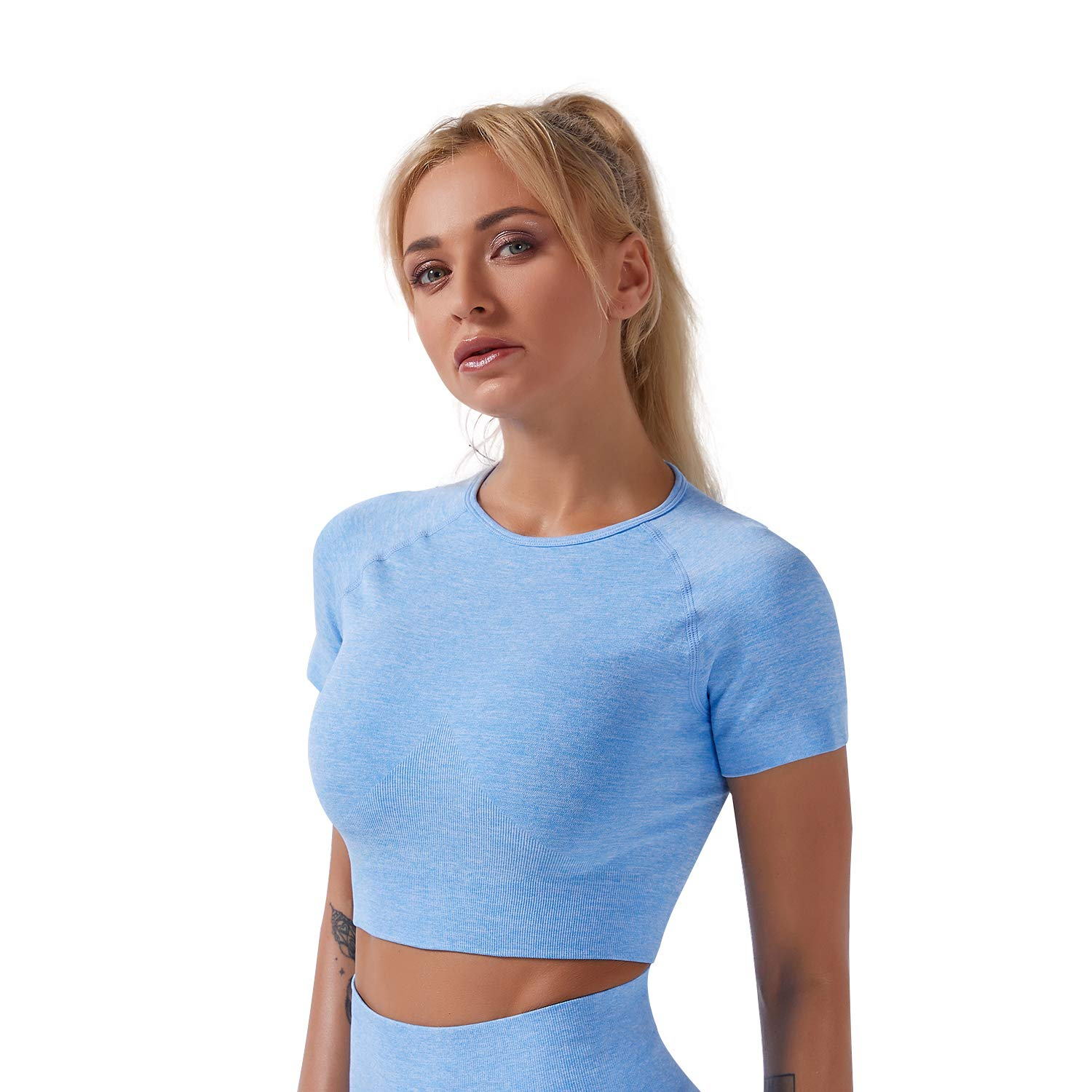 Women's Seamless Solid Color Yoga Stretch Tight Crop Top Sports Short Sleeve Top