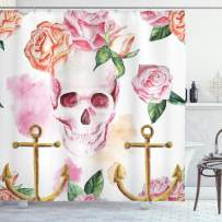"""Ambesonne Skull Shower Curtain, Nautical Anchor with Victorian Roses Peonies Vintage Art Design Print, Cloth Fabric Bathroom Decor Set with Hooks, 70"""" Long, White Brown"""