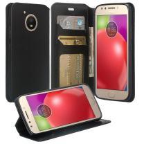 Motorola Moto E4 Plus Case, SOGA [Pocketbook Series] PU Leather Magnetic Folio Flip Wallet Case Feature Kickstand Moto E4 Plus - Luxury Black