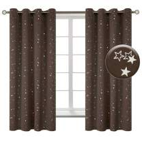 BGment Kids Blackout Curtains for Bedroom - Grommet Thermal Insulated Silver Star Print Room Darkening Curtains for Living Room, Set of 2 Panels (52 x 63 Inch, Brown)