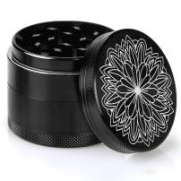 DCOU New Design Premium Aluminium Herb Grinder 2.2 Inches 4 Piece Metal Grinder with Pollen Catcher with Carved Flower
