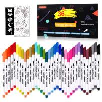 36 Colors Fabric Markers, Shuttle Art Fabric Markers Permanent Markers for T-Shirts Clothes Sneakers Jeans with 11 Stencils 1 Fabric Sheet, Permanent Fabric Pens for Kids Adult Painting Writing