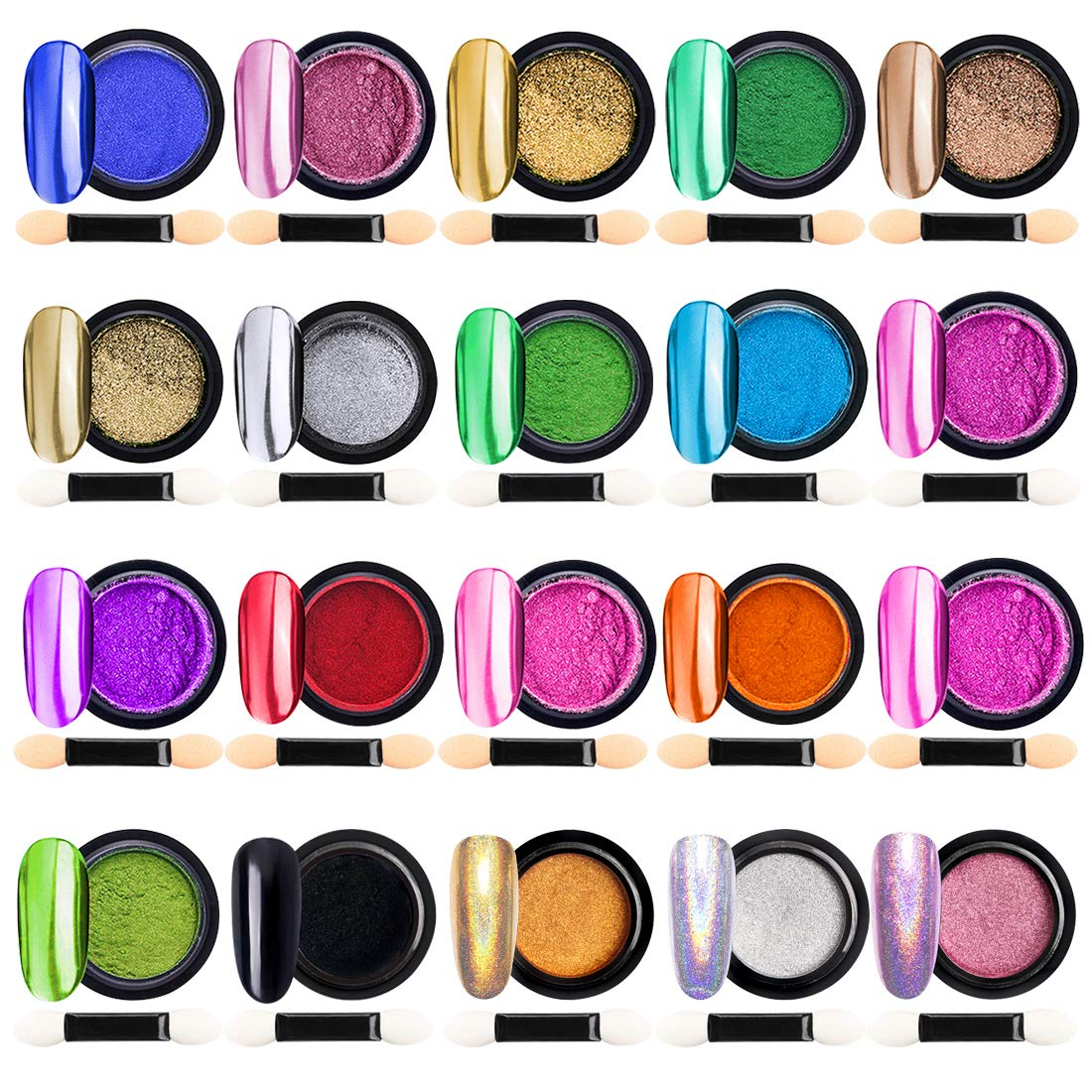 Chrome Nail Powder Metallic Nail Art Powder, Mirror Effect Manicure Pigment Laser Synthetic Resin Powder Colors Nail Powders Manicure Art Decoration with Eyeshadow Sticks – Never Peel Off (20)