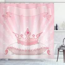 """Lunarable Princess Shower Curtain, Royal Pink Crown on a Pillow Vivid Colored Hand Drawn Image Old Tales, Cloth Fabric Bathroom Decor Set with Hooks, 75"""" Long, Pink"""