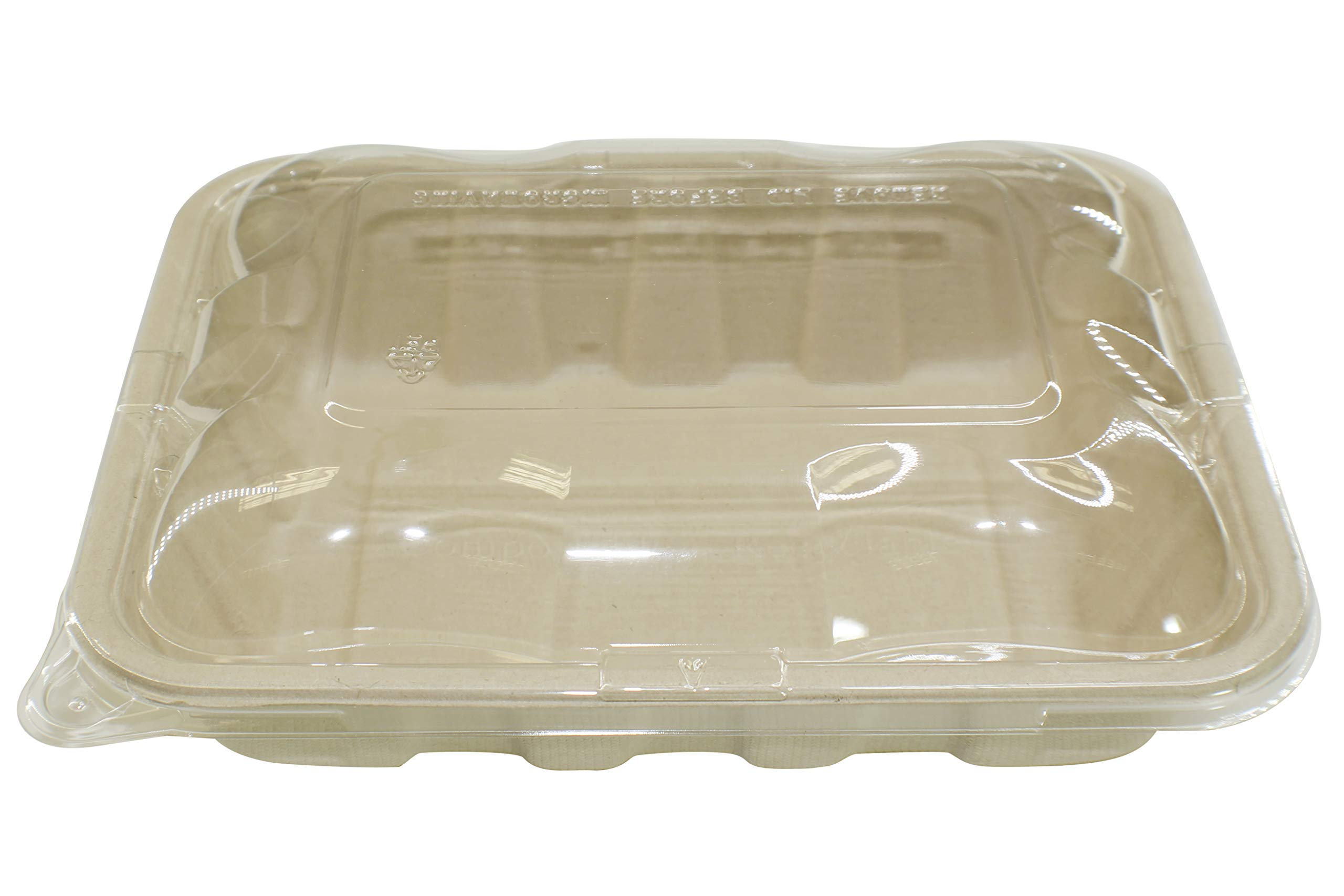 [400 SETS] 32oz Compostable Eco Friendly Container Trays with Lids - Deep Container made from Plant Fibers for Meal Prep Dinnerware Plates Catering Bento Boxes Takeout 100% by products