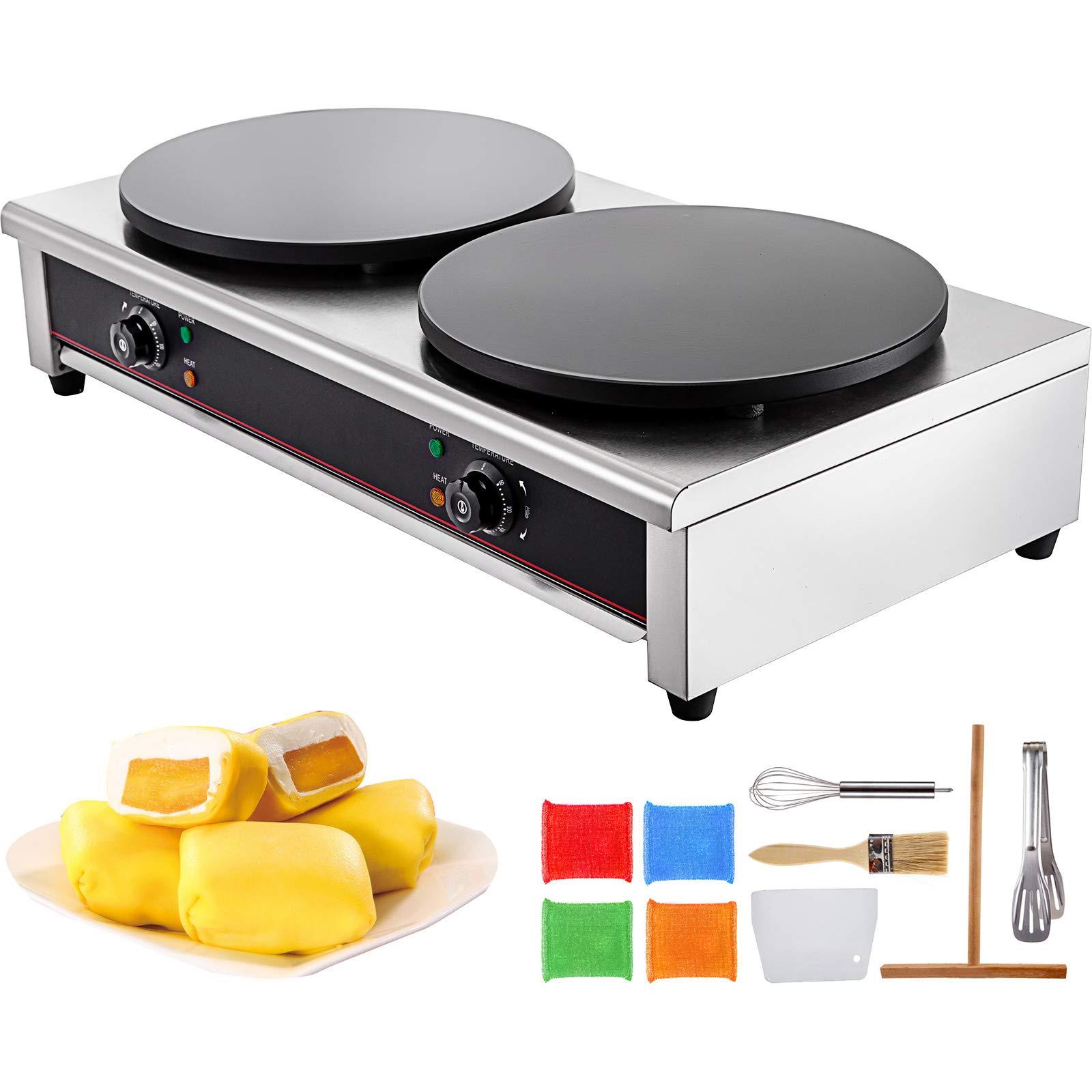 VBENLEM Commercial Crepe Maker 15.7-Inch Electric Crepe Maker 6KW Industrial Crepe Maker with Double Diameter Heating Plates 220V 50-300℃ for Pancake Pan Griddle