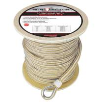 """Extreme Max 3006.2276 BoatTector Premium Double Braid Nylon Anchor Line with Thimble - 5/8"""" x 250', White & Gold"""