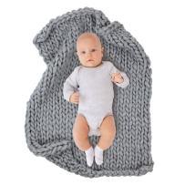"ICOSY Newborn Photography Props, Knit Baby Photo Blanket Rug Props Shoots Chunky Yarn Basket Filler Backdrop Photo Studio Posing Props (31.5""x23.6"")"