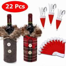 2Pack Christmas Wine Bottle Covers and 20Pcs Santa Hats Silverware Holders, Christmas Dinner Table Supplies, Xmas Party Decorations Gift