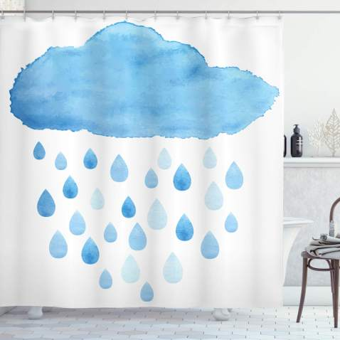 Ambesonne Nature Shower Curtain Rain Drops And Cloud In Watercolor Painting Effect Nimbus Fun Art Illustration Cloth Fabric Bathroom Decor Set With Hooks 70 Long White Blue