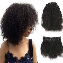 Clip in Hair Extensions Human Hair 16 Inch Color Natural Black Afro Curly Clip in Hair 7 Pcs 100 Gram Remy Hair Clip in Extensions Huanm Hair