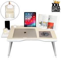 Cooper Mega Table [XXL Folding Laptop Desk] for Bed & Sofa   Couch Table, Bed Desk, Laptop, Writing, Study, Eating Storage, Reading Stand (White Oak)