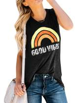 Plus Size Womens Good Vibes Tank Tops Summer Sleeveless T Shirts Crew Neck Rainbow Graphic Casual Loose Tees