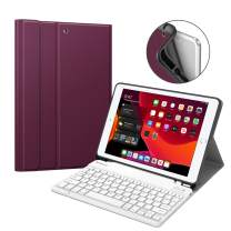 "Fintie Keyboard Case for New iPad 7th Generation 10.2 Inch 2019, Soft TPU Back Stand Cover w/Built-in Pencil Holder, Magnetically Detachable Wireless Bluetooth Keyboard for iPad 10.2"", Purple"