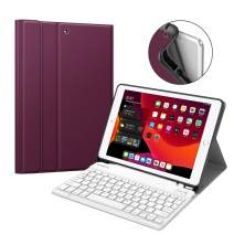 """Fintie Keyboard Case for New iPad 7th Generation 10.2 Inch 2019, Soft TPU Back Stand Cover w/Built-in Pencil Holder, Magnetically Detachable Wireless Bluetooth Keyboard for iPad 10.2"""", Purple"""