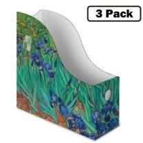 Sturdy Cardboard Magazine Holders, Folder Holders (3 Pack, Irises), Stunning Impressions Design, Magazine Organizer, Folder Organizer, Storage Box, Book Bins, Desk File Holder Organizers