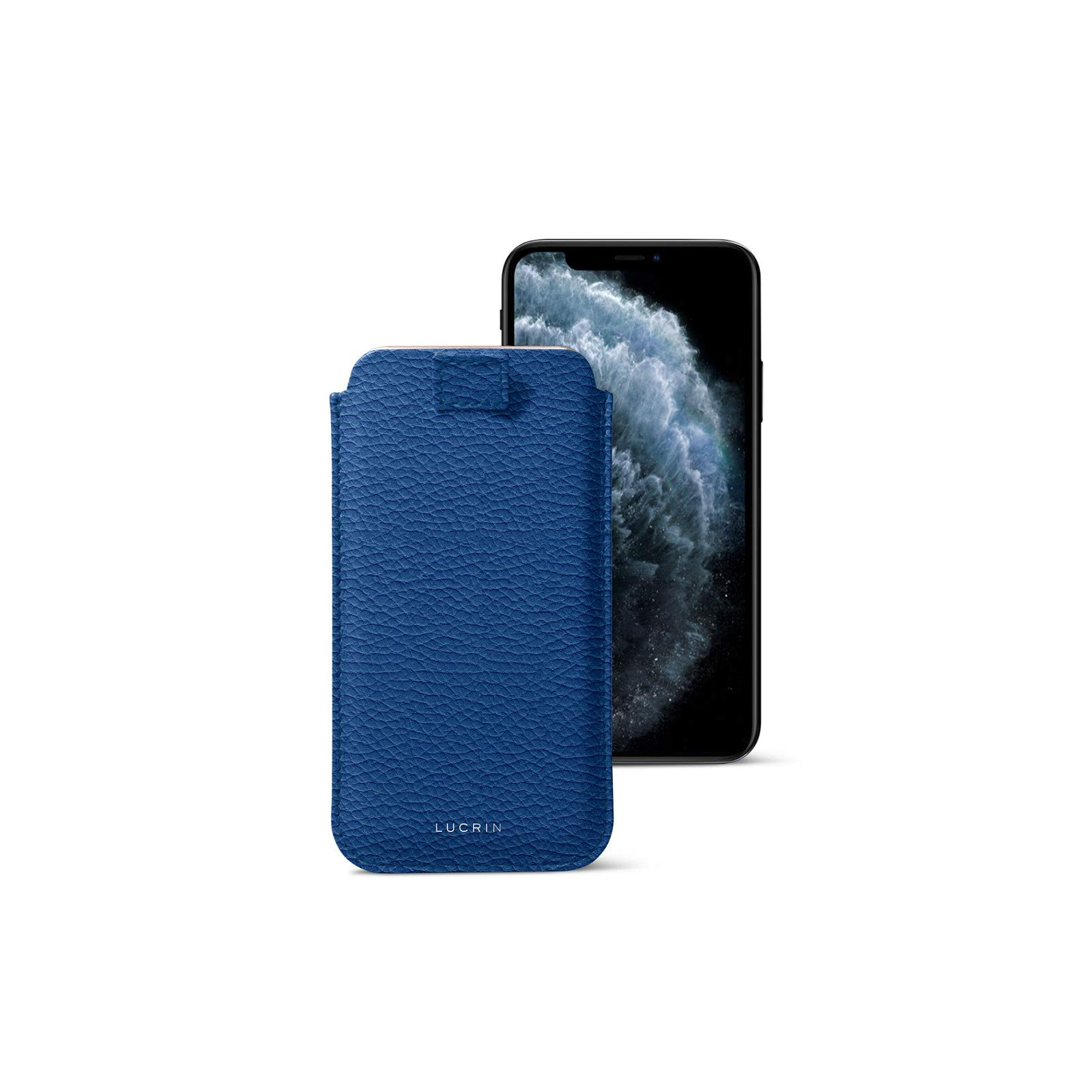 Lucrin - Pull-Up Strap Case Sleeve Cover Compatible with iPhone 11 Pro Max/XS Max/ 8 Plus and Wireless Charging - Royal Blue - Granulated Leather