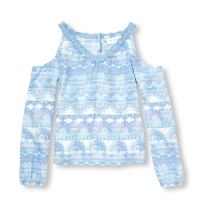 The Children's Place Girls' Cold Shoulder Long Sleeve Shirt