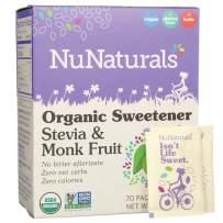 NuNaturals Organic Sweetener, Stevia and Monk Fruit, 70 Packets, 2.47 oz (70 g)