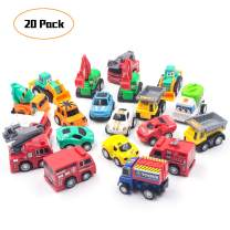 FRETOD Pull Back Car 20 Pcs with Moveable Parts Construction Car, Fire Trucks and Racing Toys Mini Pull Back Car Set for Kids