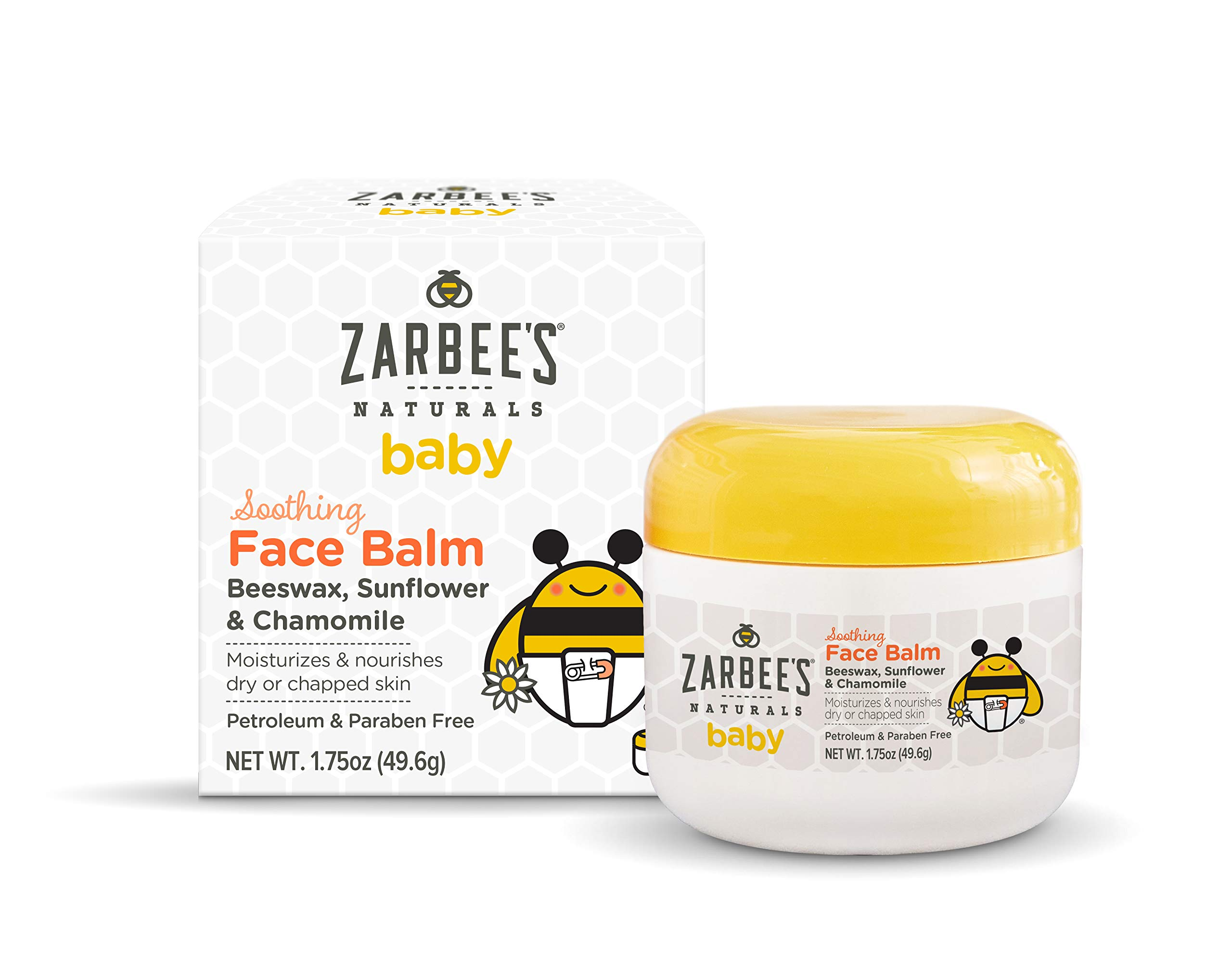 Zarbee's Naturals Baby Soothing Face Balm, 1.75 Ounces, with Beeswax, Sunflower & Chamomile