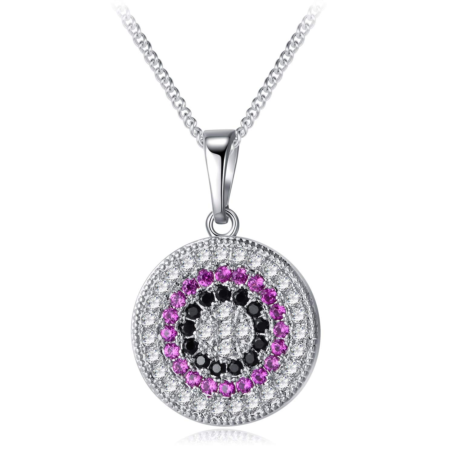 YHLISO Evil Eye Pendant Sparkling Necklace Round Pave Diamond Cubic Zirconia Lucky Charm Disc Necklaces for Women