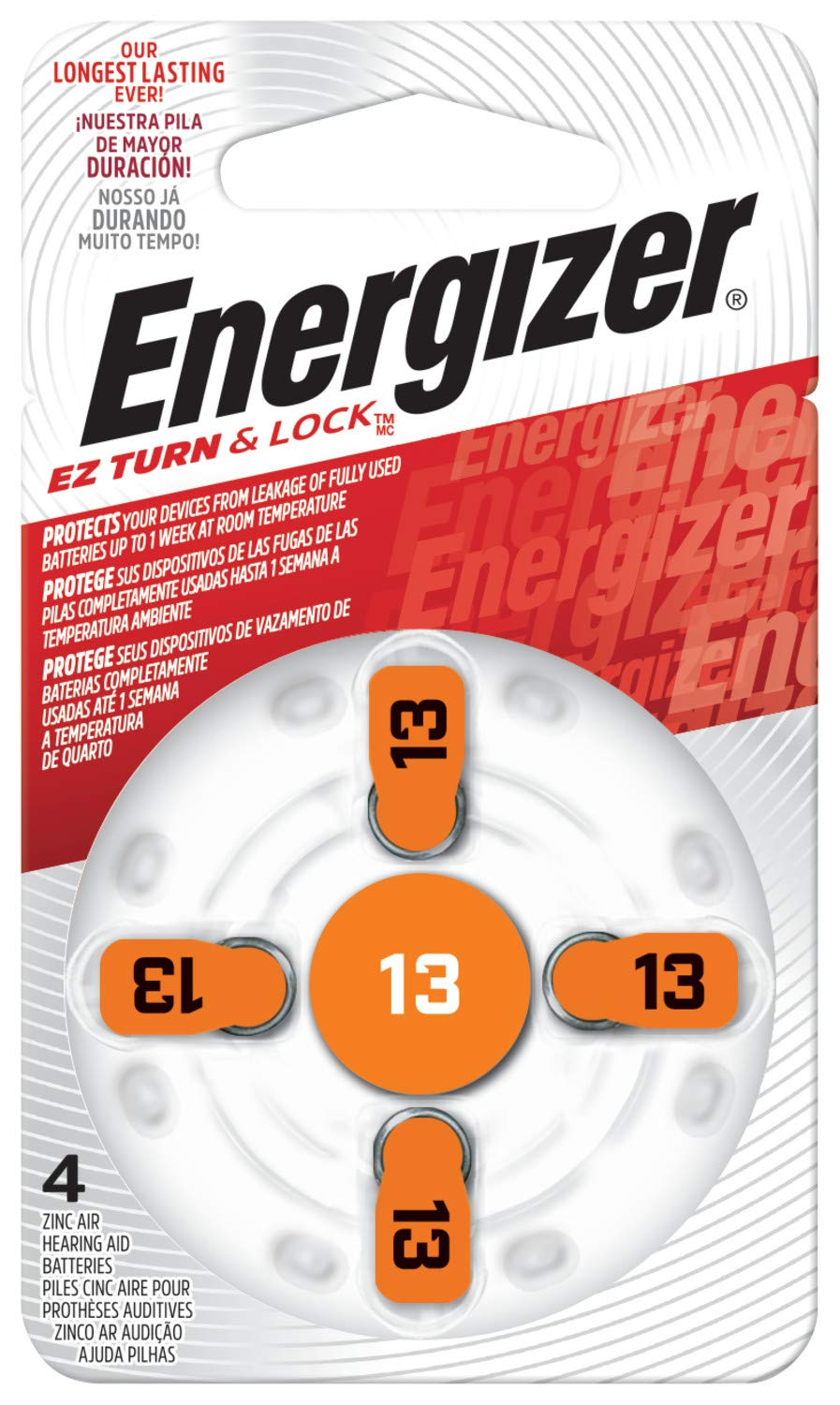 Energizer EZ Turn & Lock Size 13 Hearing Aid Battery, 96-Count