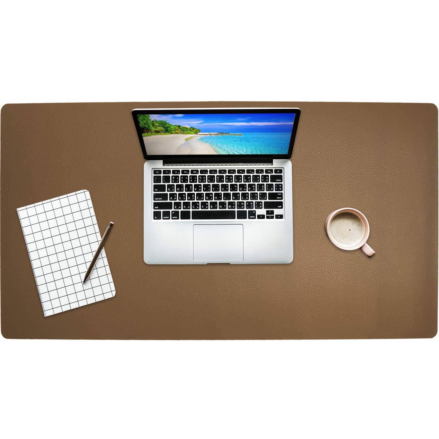 """Getfitsoo Leather Desk Pad, Laptop Desk Mat, Waterproof Desk Writing Pad at Office and Home, Super Comfortable Surface Leather Mat,31.5""""x15.7"""" Perfect Size Leather Desk Blotter (Khaki)"""