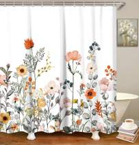 "LIVILAN Fabric Floral Shower Curtain Set with 12 Hooks Watercolor Decorative Bath Curtain Modern Bathroom Accessories, Machine Washable, 72"" X 78"""