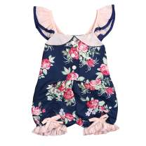 Toddler Baby Girls Floral Romper Halter Bodysuit Ruffled Clothes Sleeveless Jumpsuit Outfits