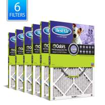 """BestAir PF1420-1 AC Air, 14"""" x 20"""" x 1"""", MERV 11, Removes Allergens & Contaminants, Carbon Infused to Eliminate Odor, Fits 100%, for 1"""" Furnace Filter"""