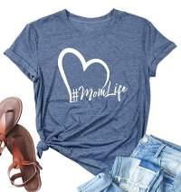 Susongeth Mom Life Heart Print Graphic T-Shirt Women's Short Sleeve Letters Print Casual Tops Tees